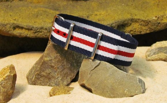 The Patriot II. Red, White and Navy Blue Multi-Striped Ballistic Strap w/ Polished Hardware from NATO.