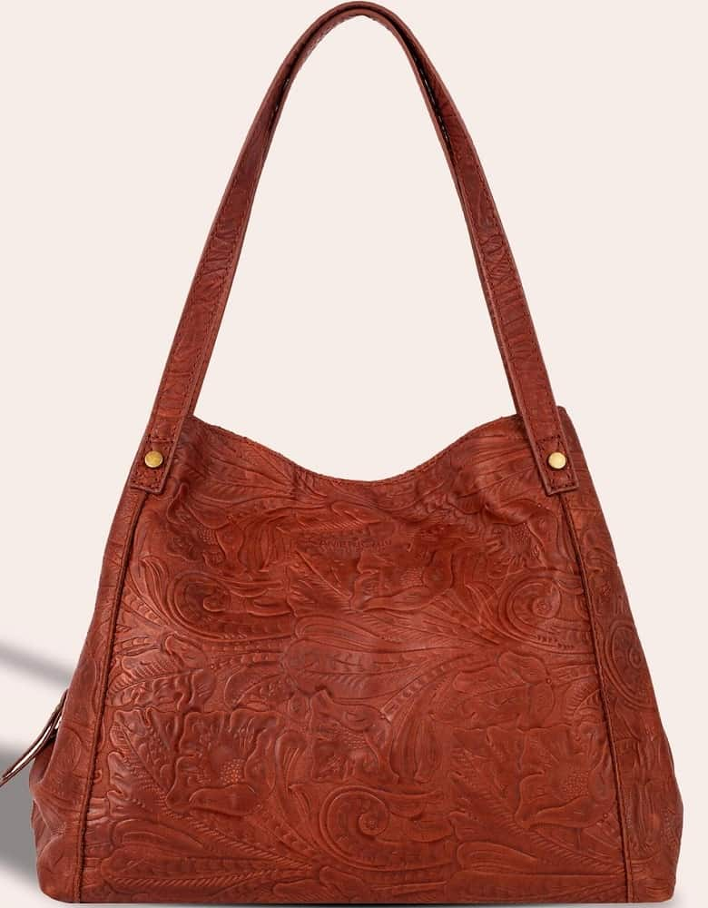 The Liberty Shopper in brown patterned leather by American Leather Co.