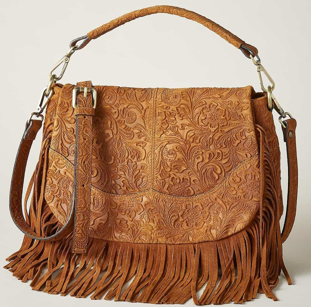 The Durango Fringed Bag in brown patterned leather by Sundance.