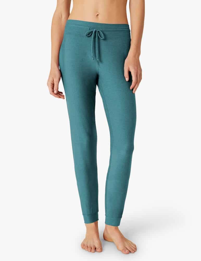 The Featherweight Lounge Around Jogger in green from Beyond Yoga.