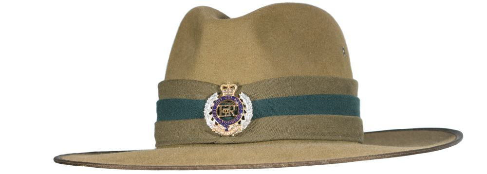 A close look at the hat worn by the New Zealand Army.
