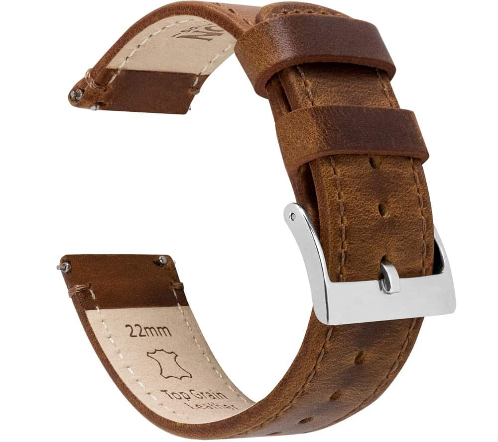 The Weathered Brown Leather Quick Release watch band from Barton.