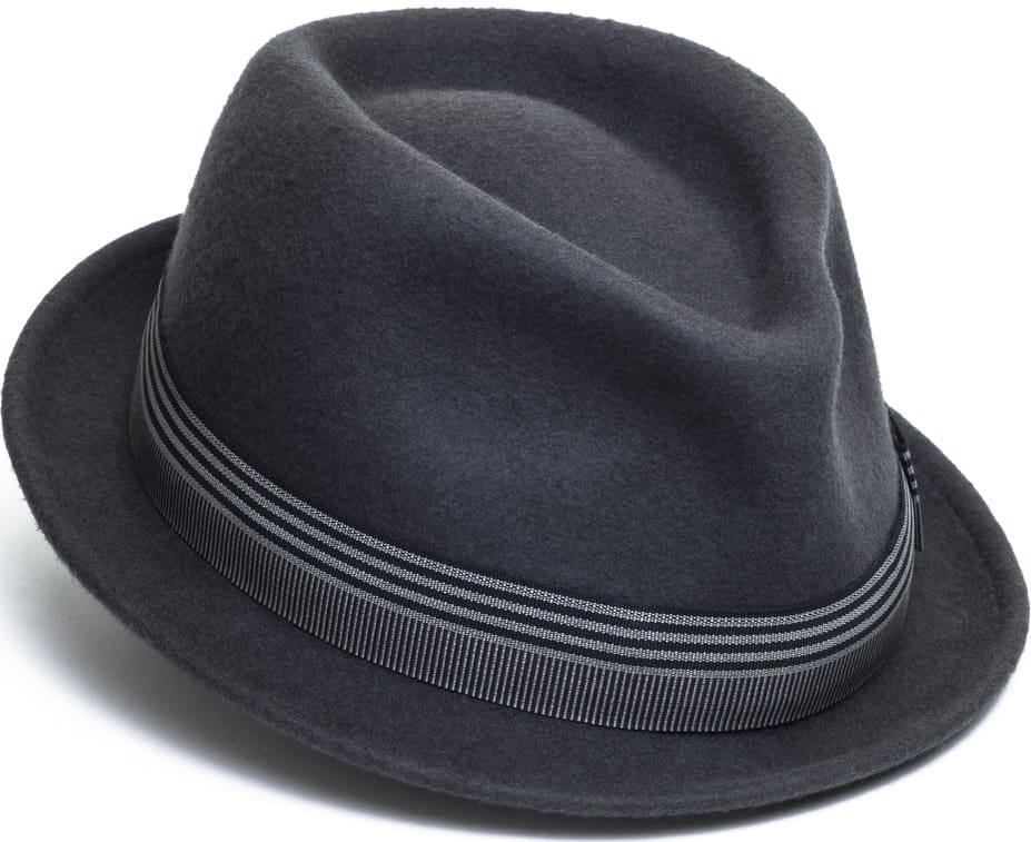 This is a close look at a dark gray fedora.