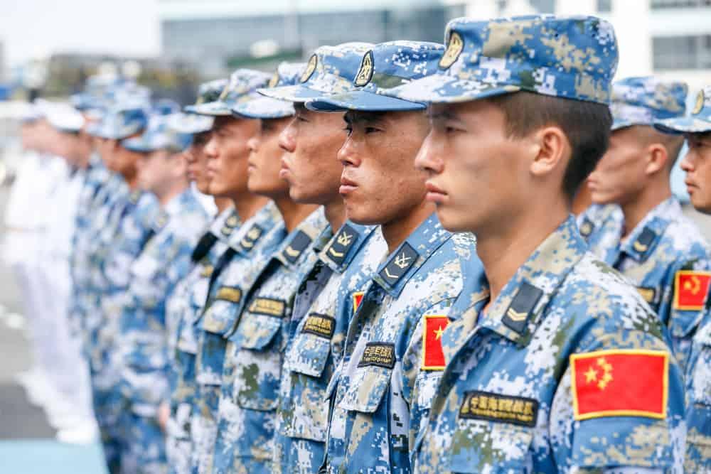 Soldiers wearing ocean digital camouflage uniforms.