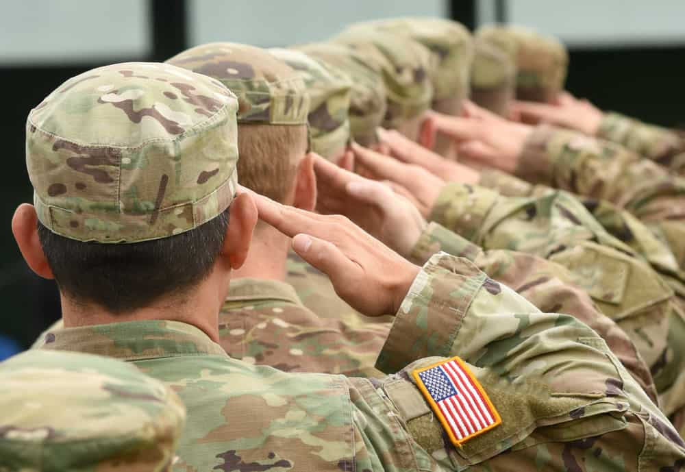 A close look at the USA Army in salute from behind.