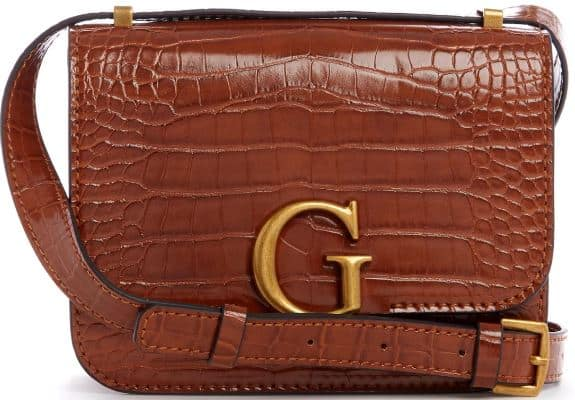 The Corily Convertible Crossbody in brown leather by Guess.