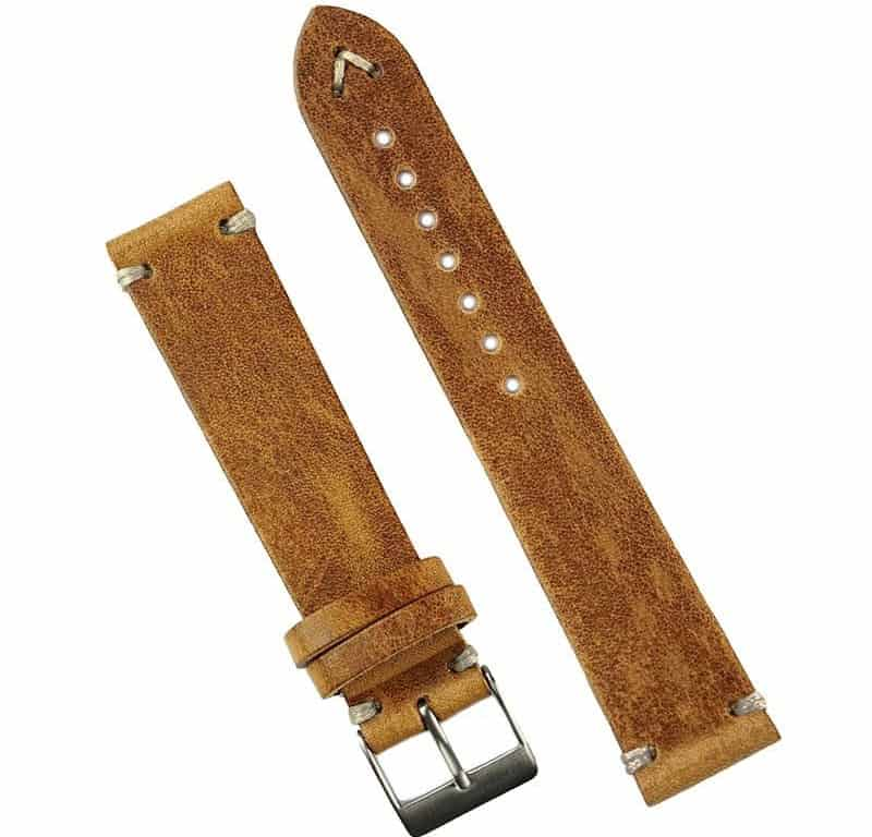 The Oak Italian Classic Vintage Leather Watch Band from B and R Bands.
