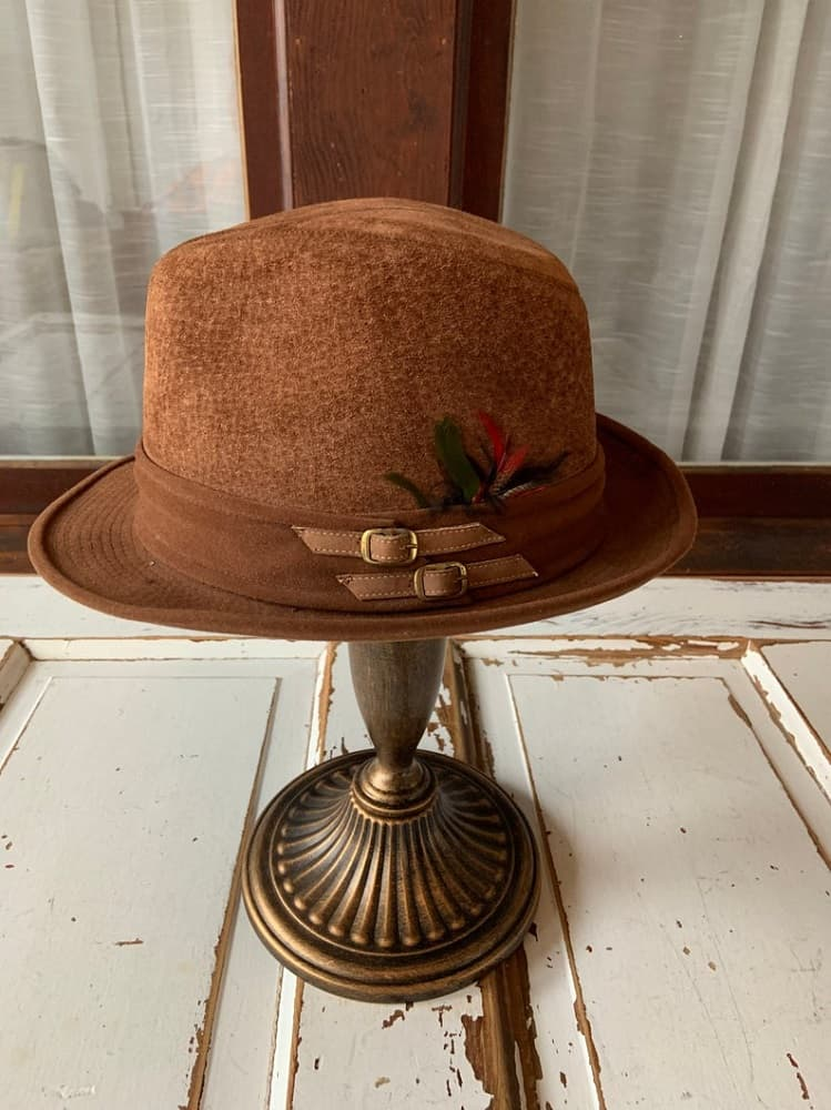 Vintage 1960's Cavanagh Hats of NY Suede Fedora from Etsy.