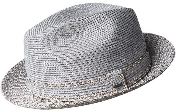 This is the Mannesroe fedora in silver from Bailey.