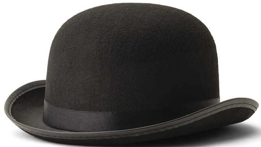 This is a close look at a vintage black bowler hat.