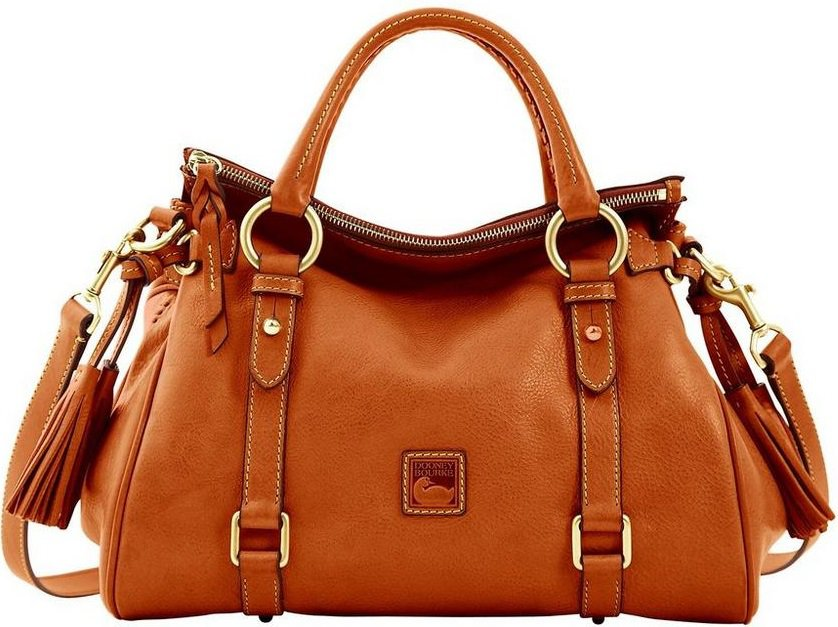 The Florentine Satchel in brown leather by Dooney and Bourke.