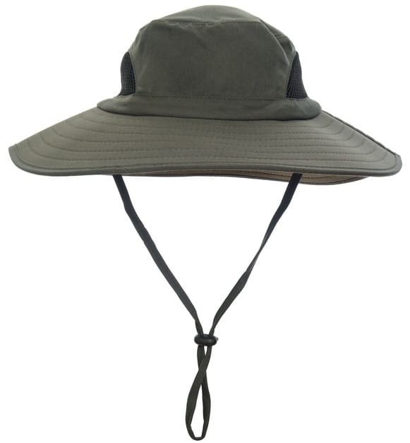 This is a fishing bucket hat with straps.