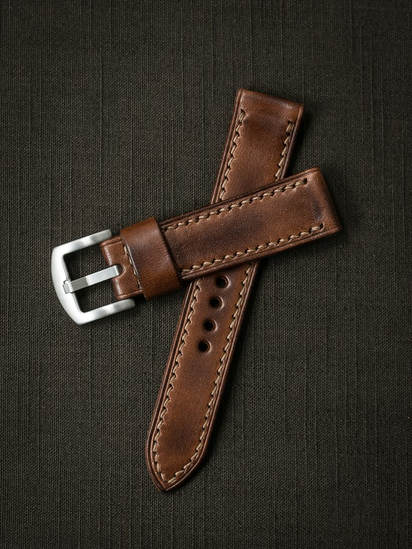 """The """"Lachlan"""" Russet Vintage Tan Handcrafted Leather Watch Strap from Bas and Lokes."""