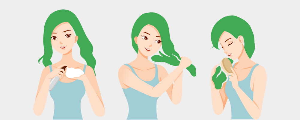 Picture of a girl taking care of her healthy hair