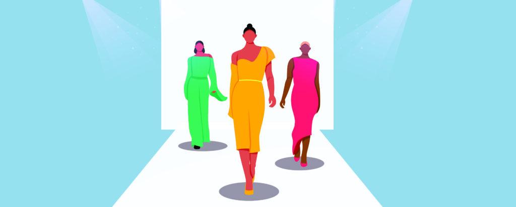 Model modeling some fashion dresses