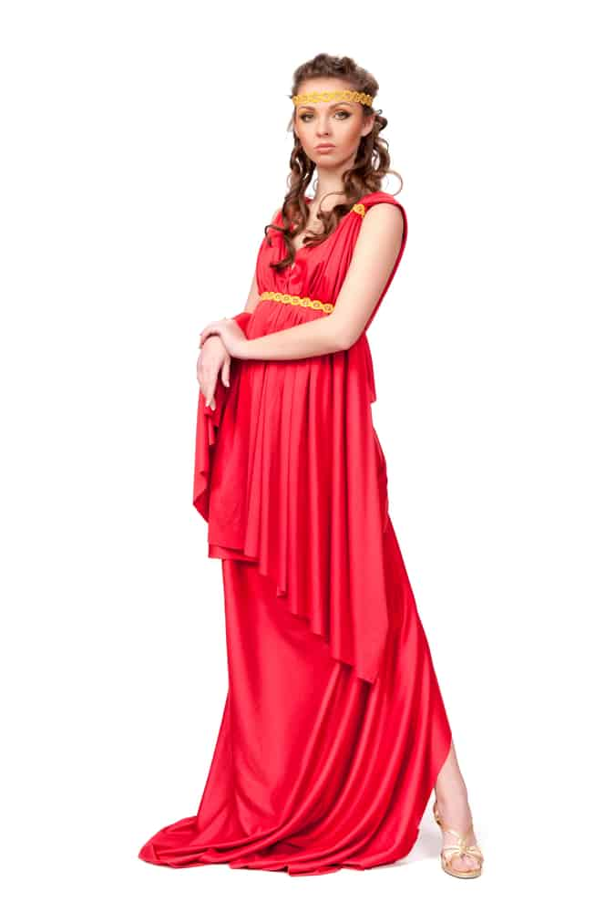 Ancient goddess wearing a traditional red gown.