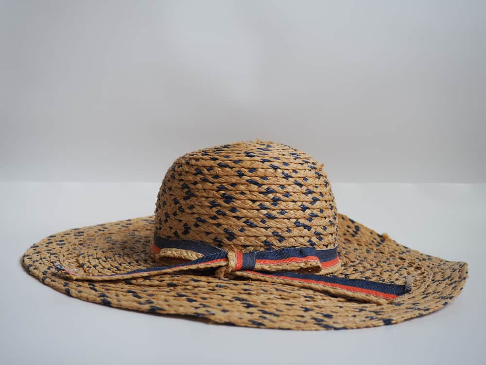 Raffia straw hat with blue and red ribbon.