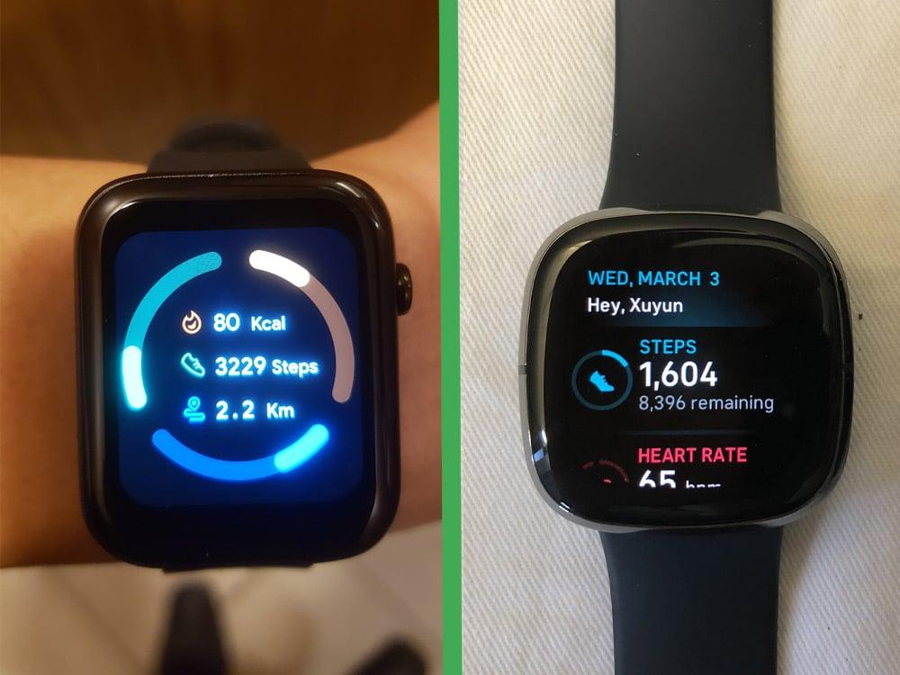 ticwatch gth vs fitbit sense health data