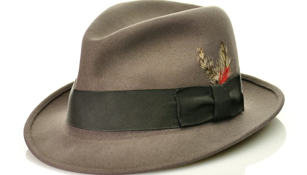 A dark gray fedora with a gray band adorned by feathers.
