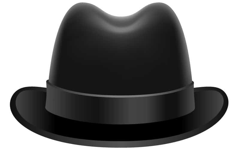 A vector illustration of a black homburg hat.