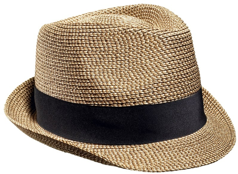This is a close look at a brown fedora with black band.