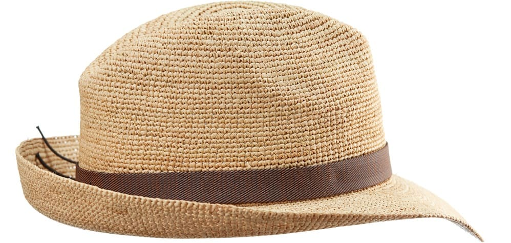 This is a brown woven straw fedora hat with a brown band.