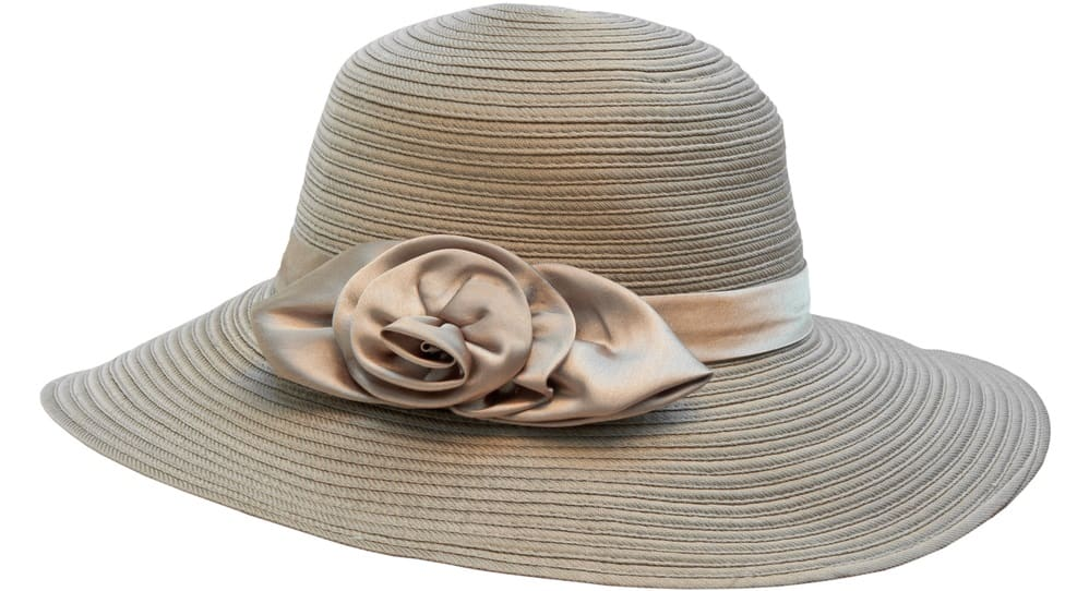 This is a fashionable woven women's hat with a silk ribbon as band.