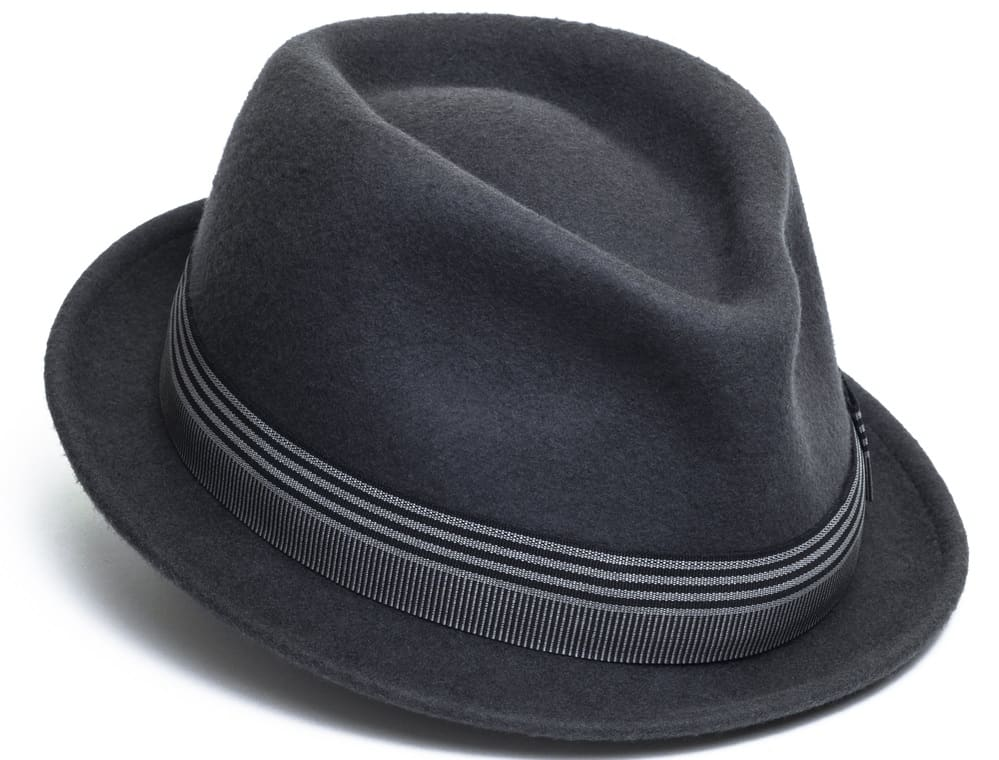 This is a gray trilby fedora hat with a striped band.