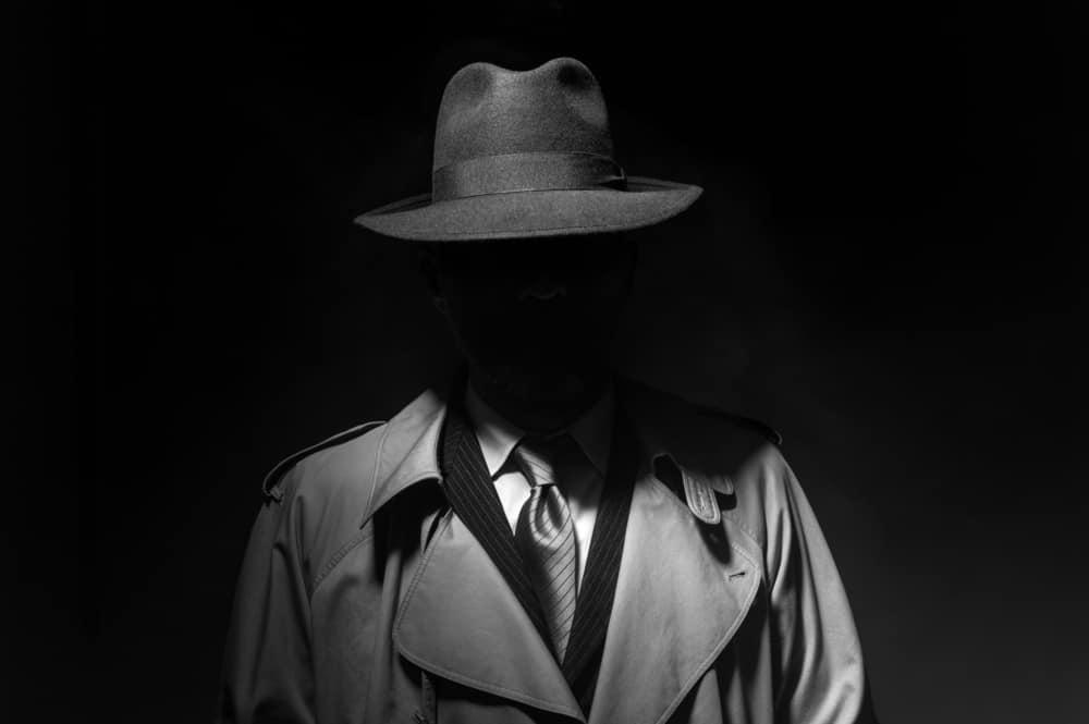 A man shrouded in shadow wearing a gray trench coat and a gray fedora .