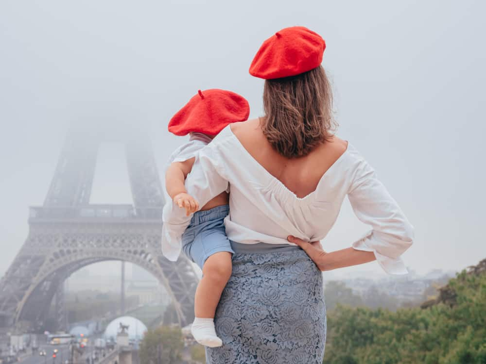 A mother and son wearing matching red berets while gazing at the Eiffel Tower.