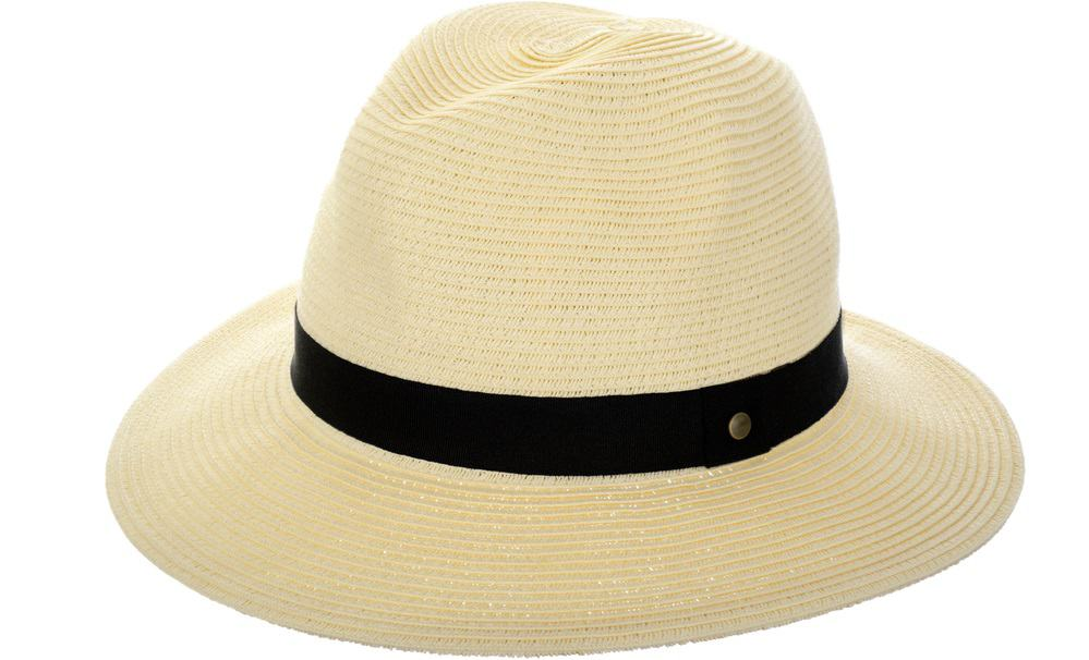 This is a close look at a light beige straw fedora hat with black band.