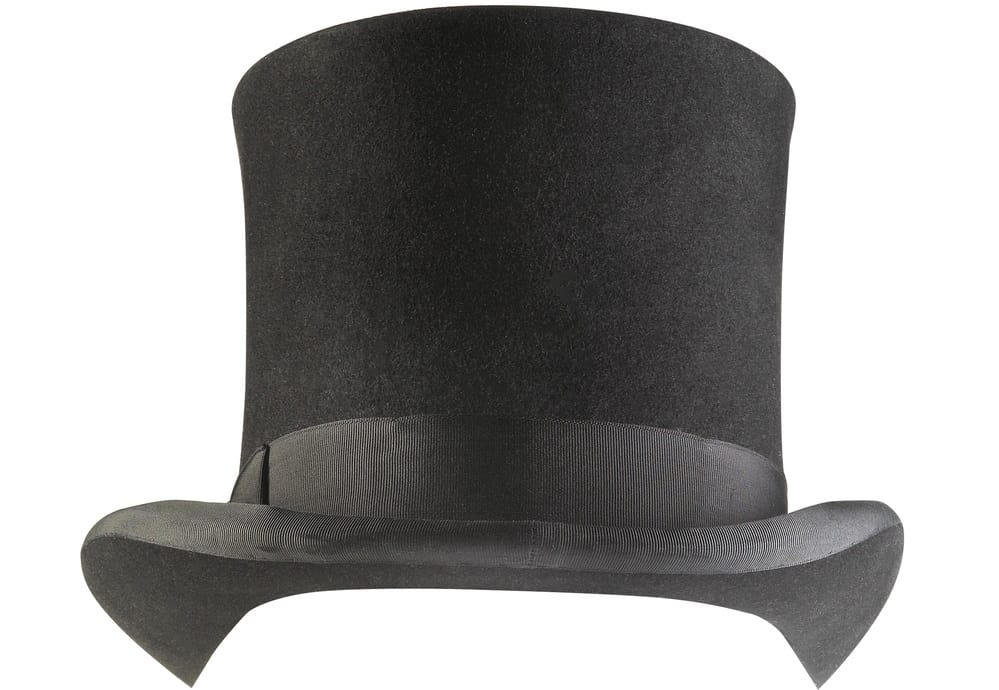 This is a close look at a black top hat with a black cloth band.