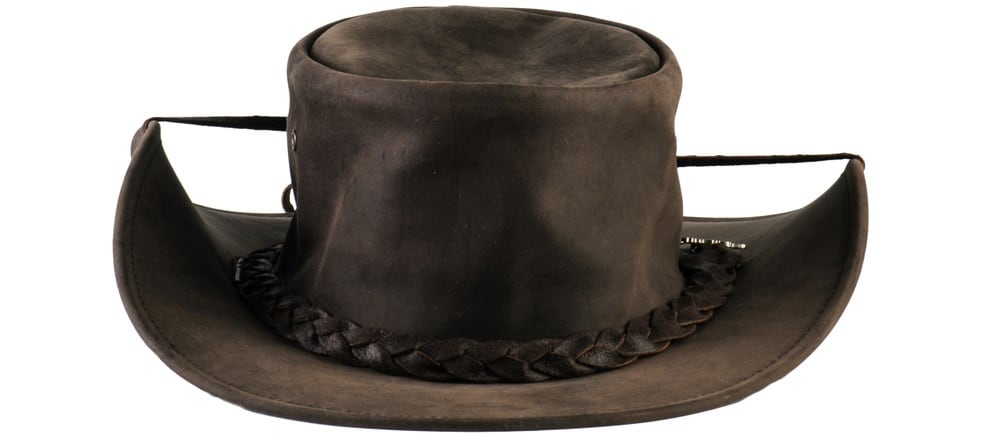 This is a brown leather outback hat with leather band and straps.