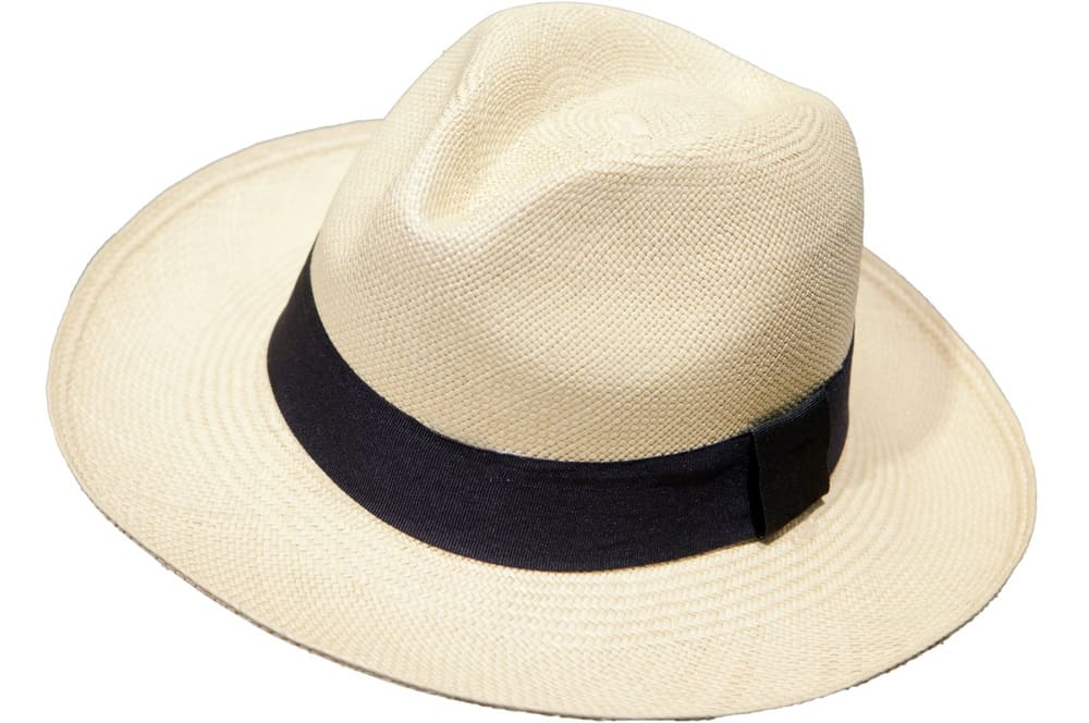 A close look at a light beige Panama hat with black band.
