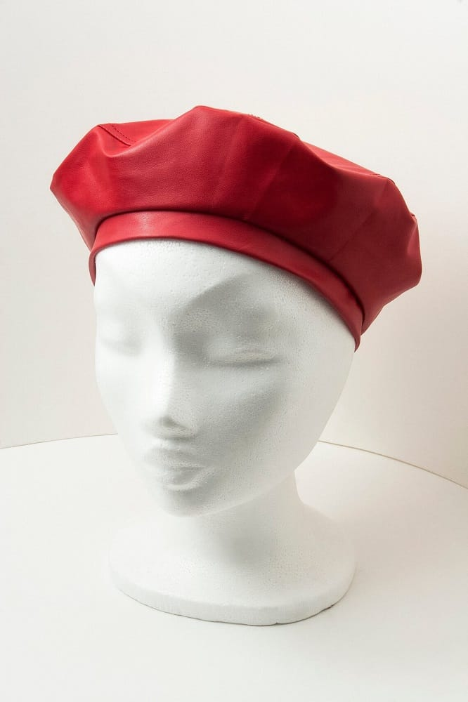 This is the Red Vinyl Hat, French Beret, Handmade from Etsy.