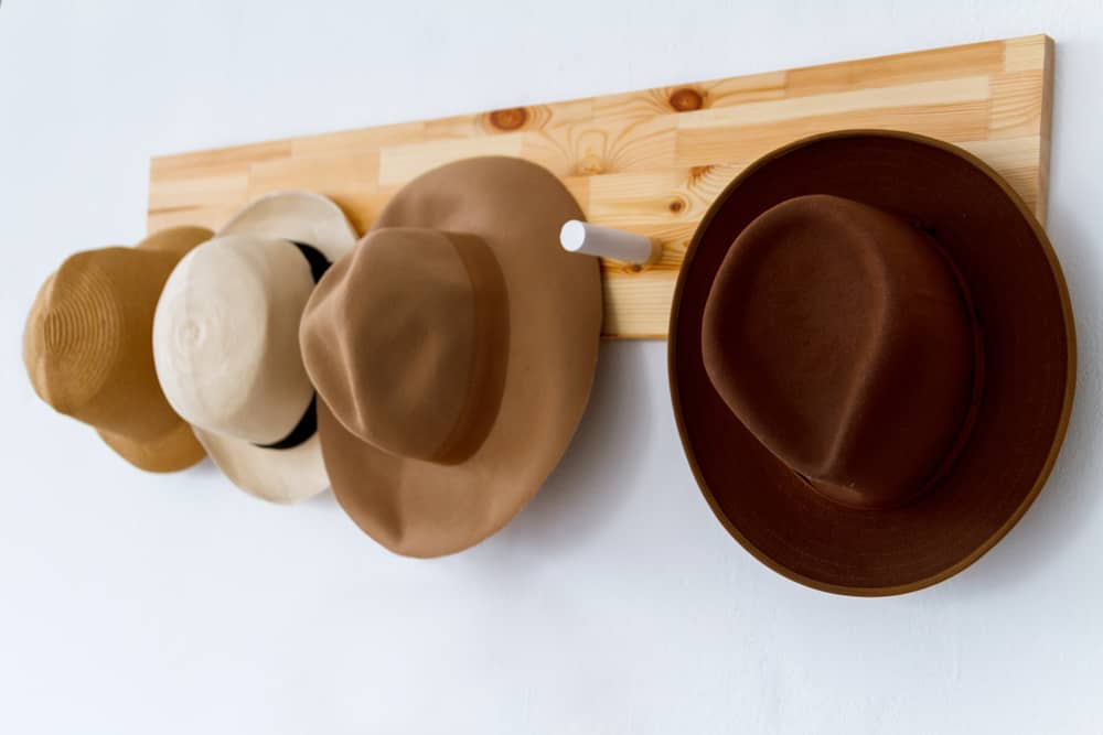 A row of fedoras hanging on hat rack mounted on wall.