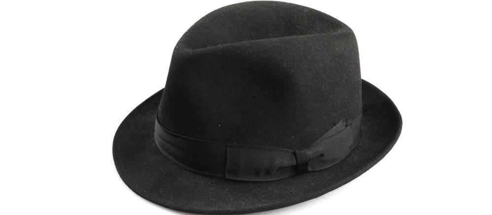 This is a black felt fedora hat that has a black cloth band.