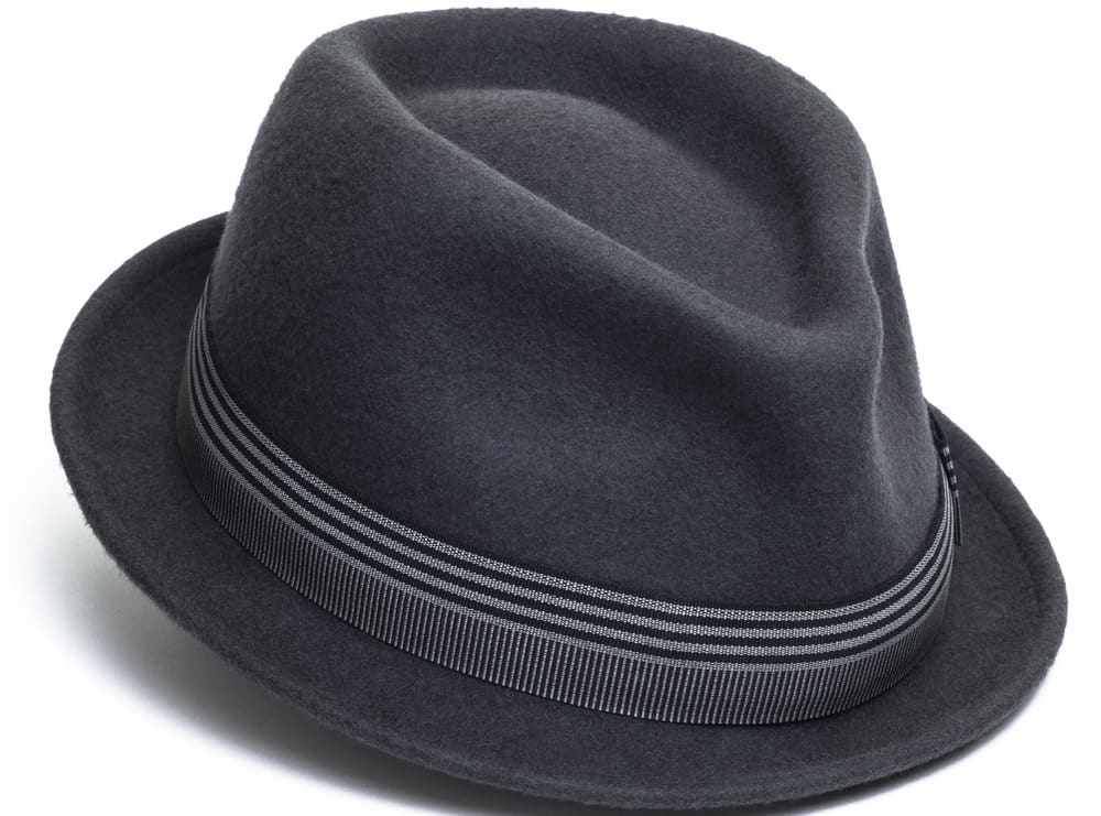 This is a dark gray fedora hat with a striped band.