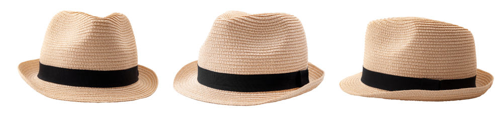 This is a woven straw fedora hat with black band seen from different angles.
