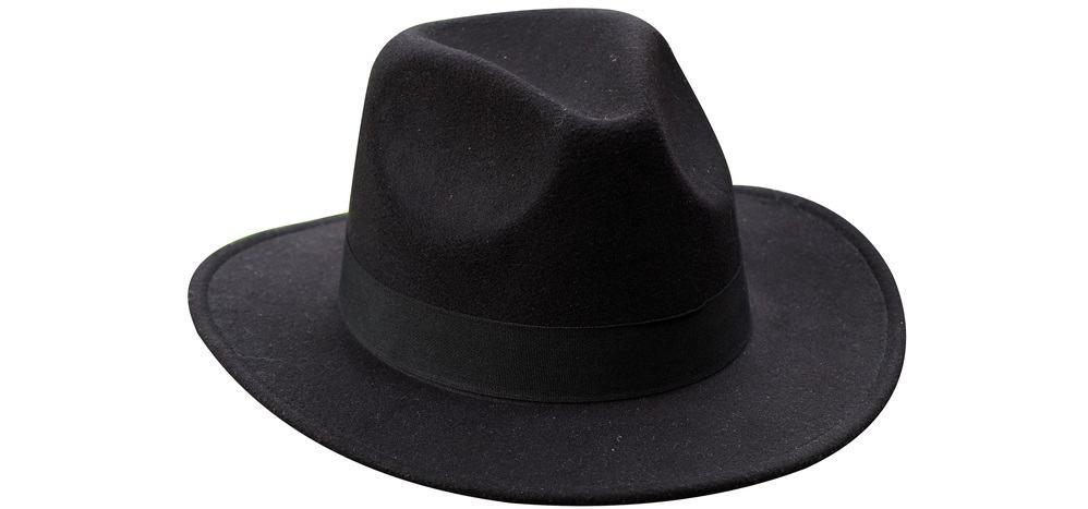 A close look at a black wide-brim fedora hat.