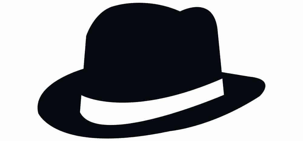 This is an illustration of a black classic fedora icon.