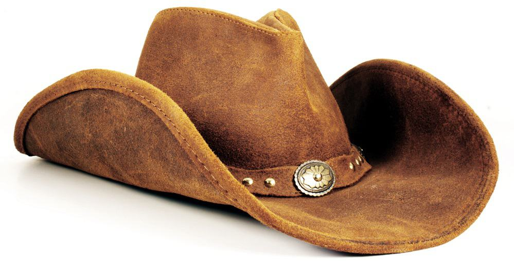 A close look at a brown felt cowboy hat with buckle.