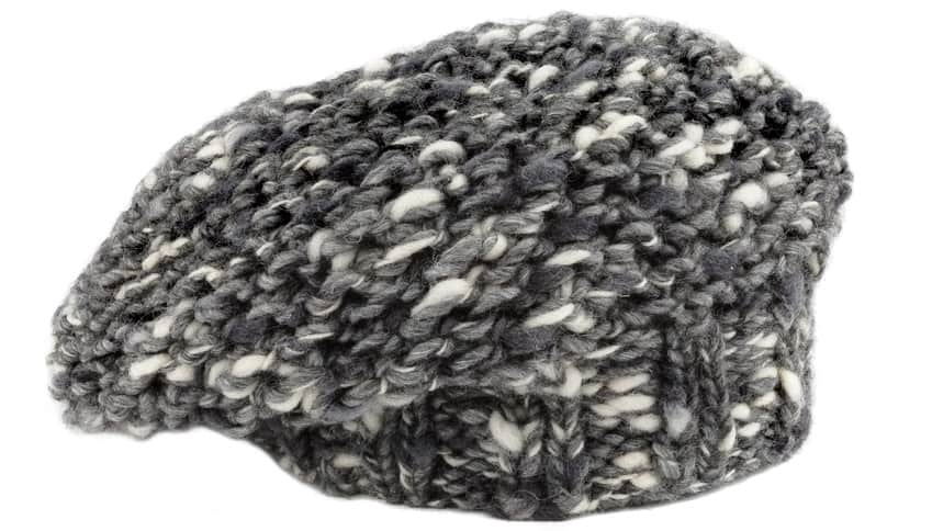 This is a close look at a gray woven mohair beret.