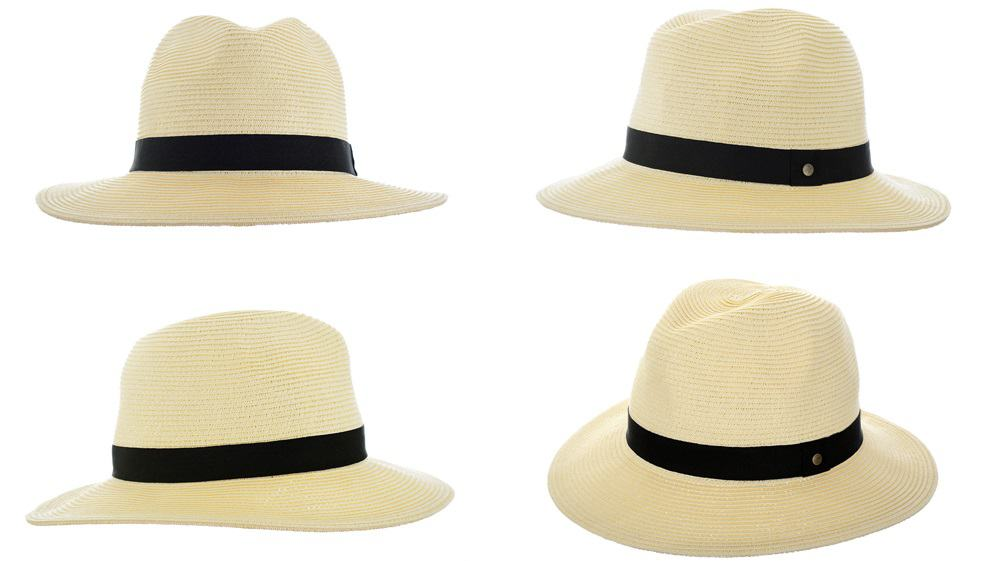 This is a woven Panama hat with a black band as seen from different angles.
