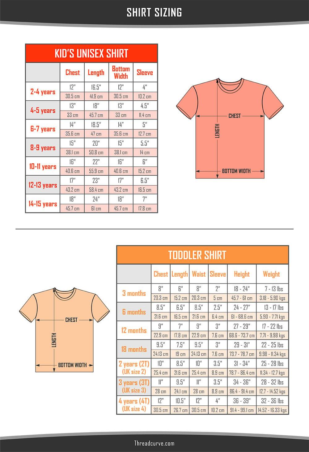 Kids' shirt sizes charts