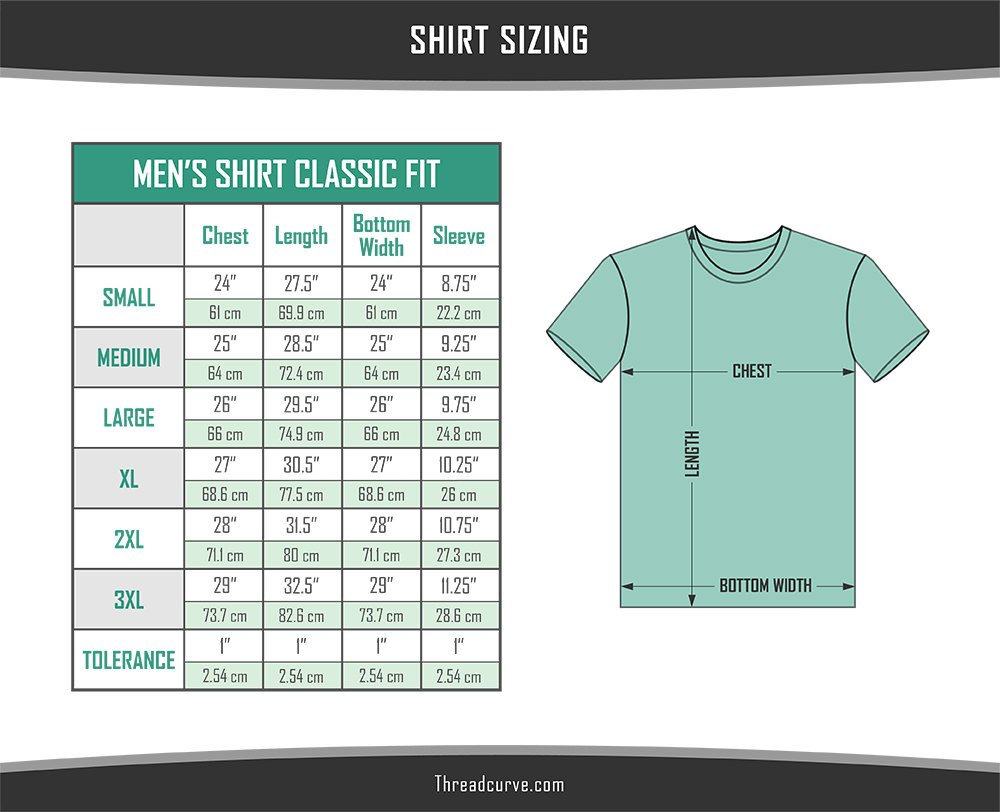 Men's classic t-shirt sizes chart