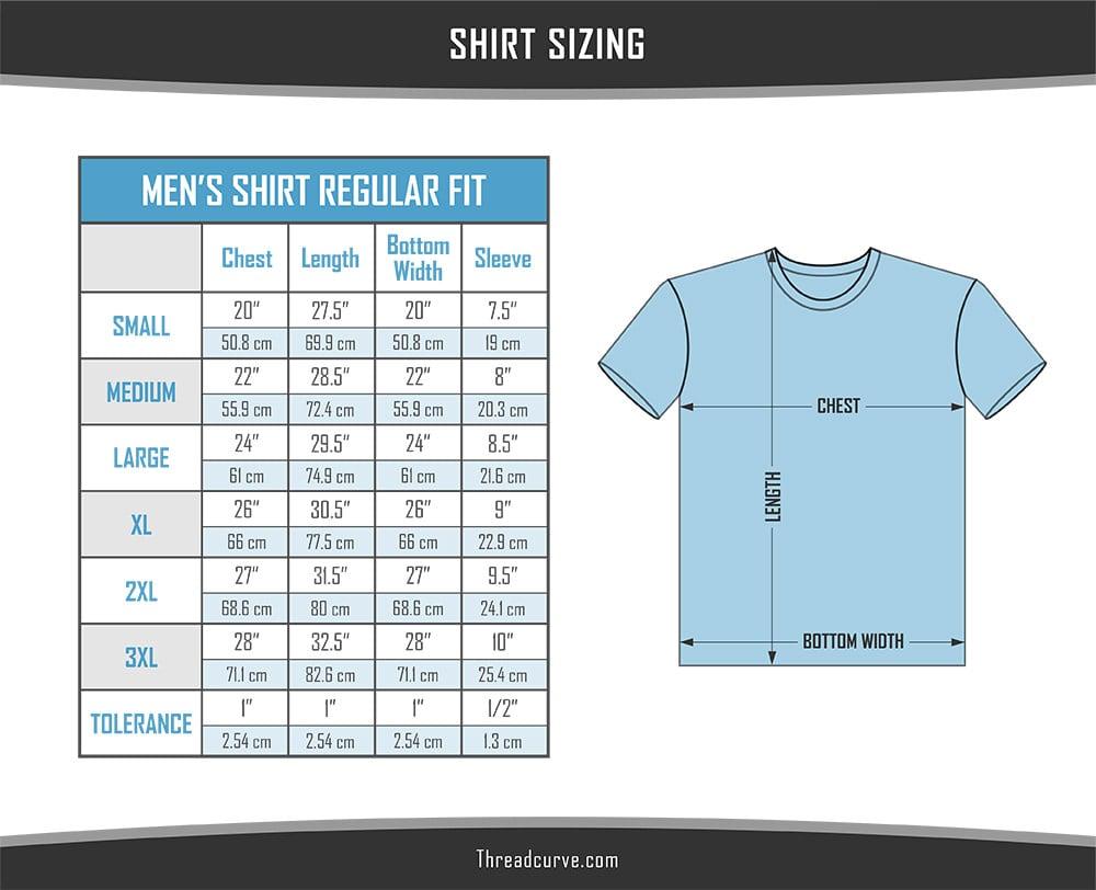 Men's regular t-shirt sizes chart