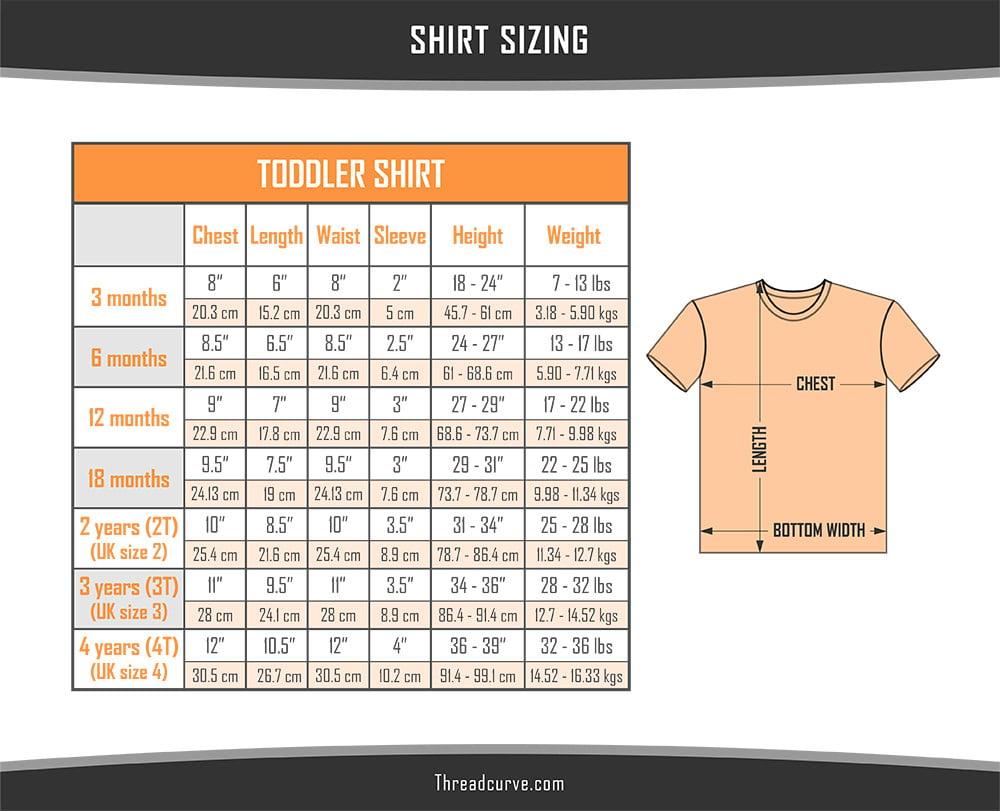 Toddler Shirt Size Chart