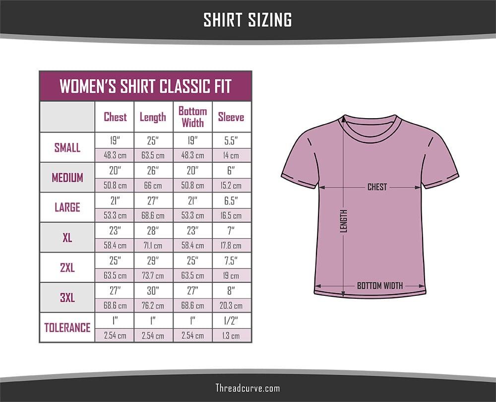 Women's classic t-shirt sizes chart