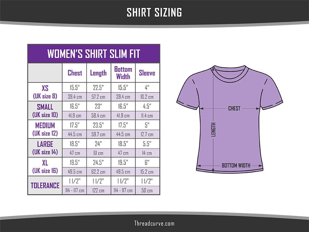 Women's slim fit shirt sizes chart